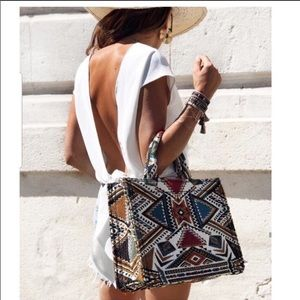 Last one Zara geometric print tote bag